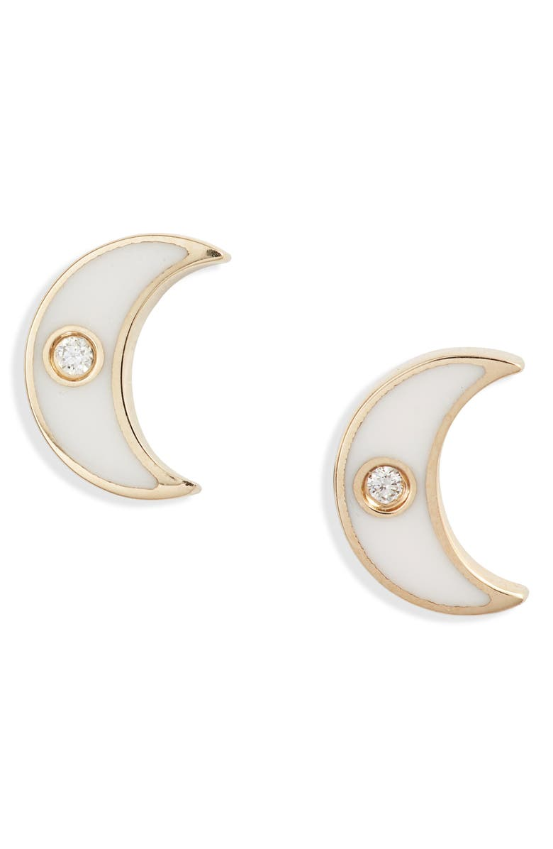 EF COLLECTION Enamel Diamond Moon Stud Earrings, Main, color, YELLOW GOLD/ WHITE