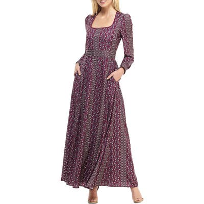 Gal Meets Glam Collection Freya Print Long Sleeve Maxi Dress, Burgundy
