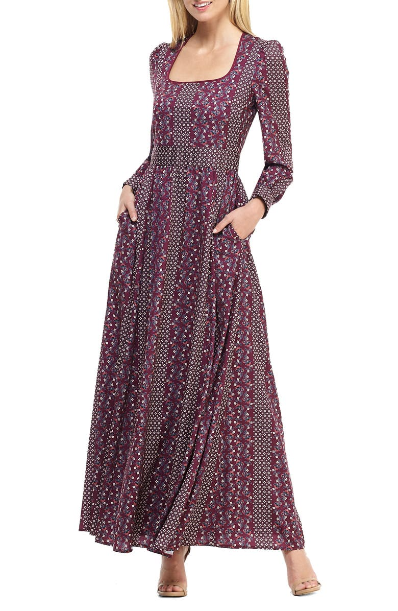 GAL MEETS GLAM COLLECTION Freya Print Long Sleeve Maxi Dress, Main, color, WINE