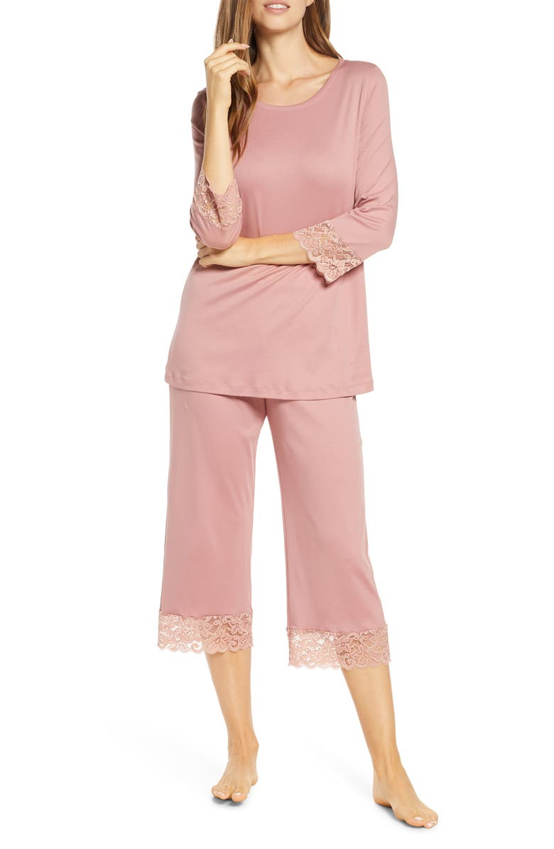 HANRO Moments Lace Trim Crop Pajamas, Main, color, ROUGE