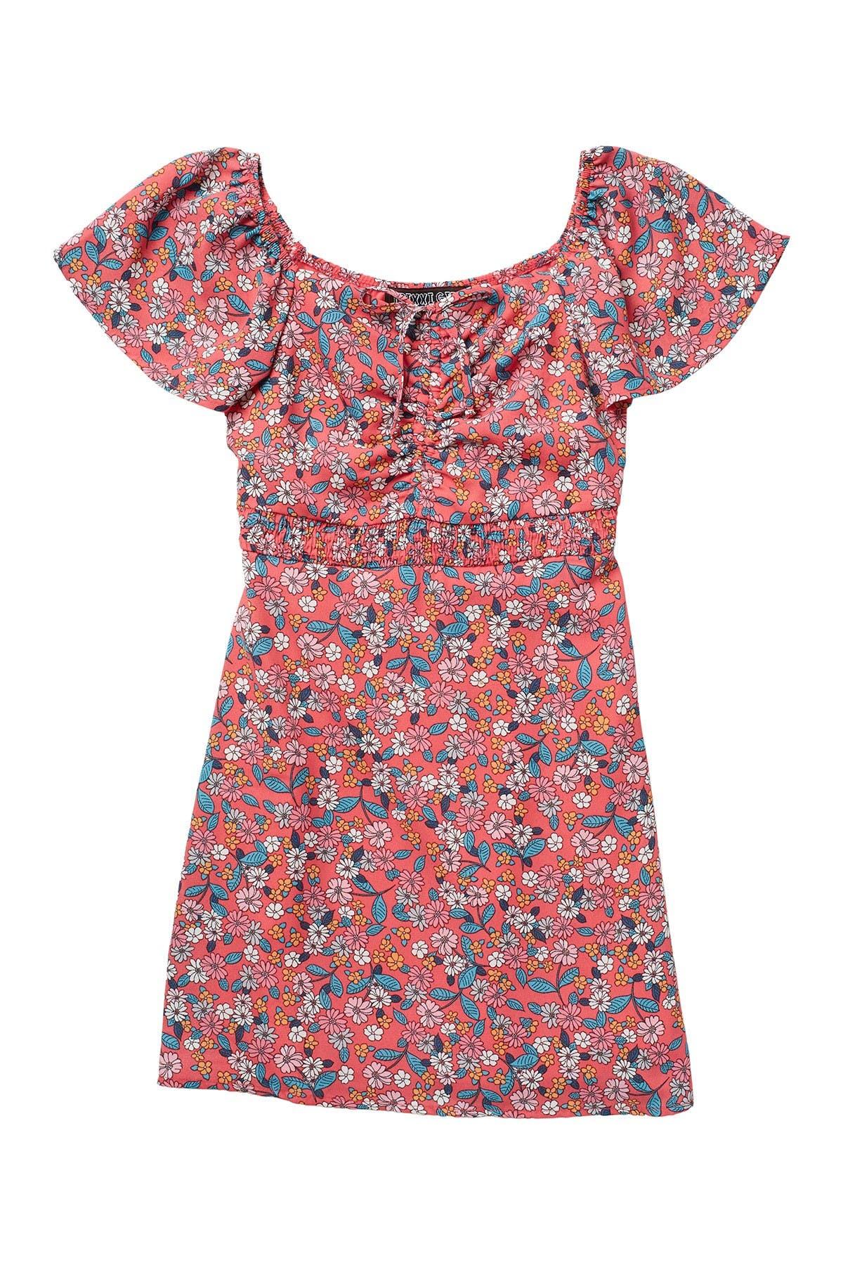Image of Trixxi Smocked Waist Floral Print Dress
