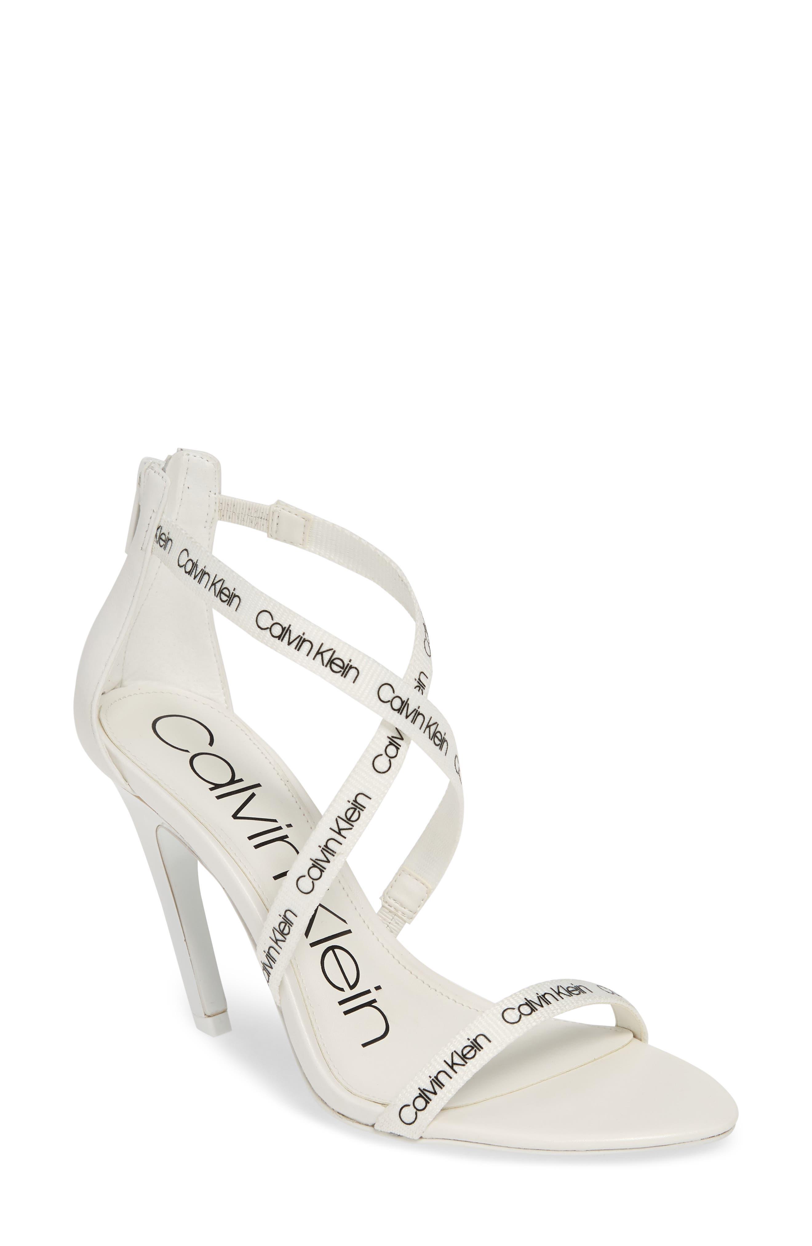 Calvin Klein Gennovah Cross Strap Sandal, White