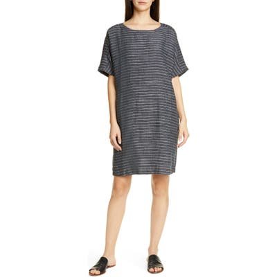 Petite Eileen Fisher Stripe Linen Tunic Dress, Grey