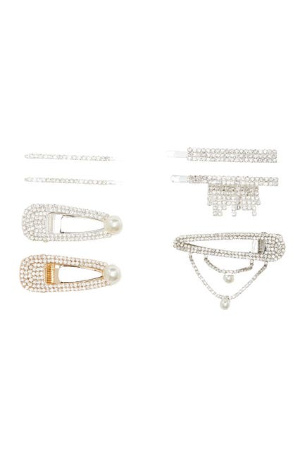 Image of Natasha Accessories Faux Crystal Embellished Bobby Pin & Hair Clip Set