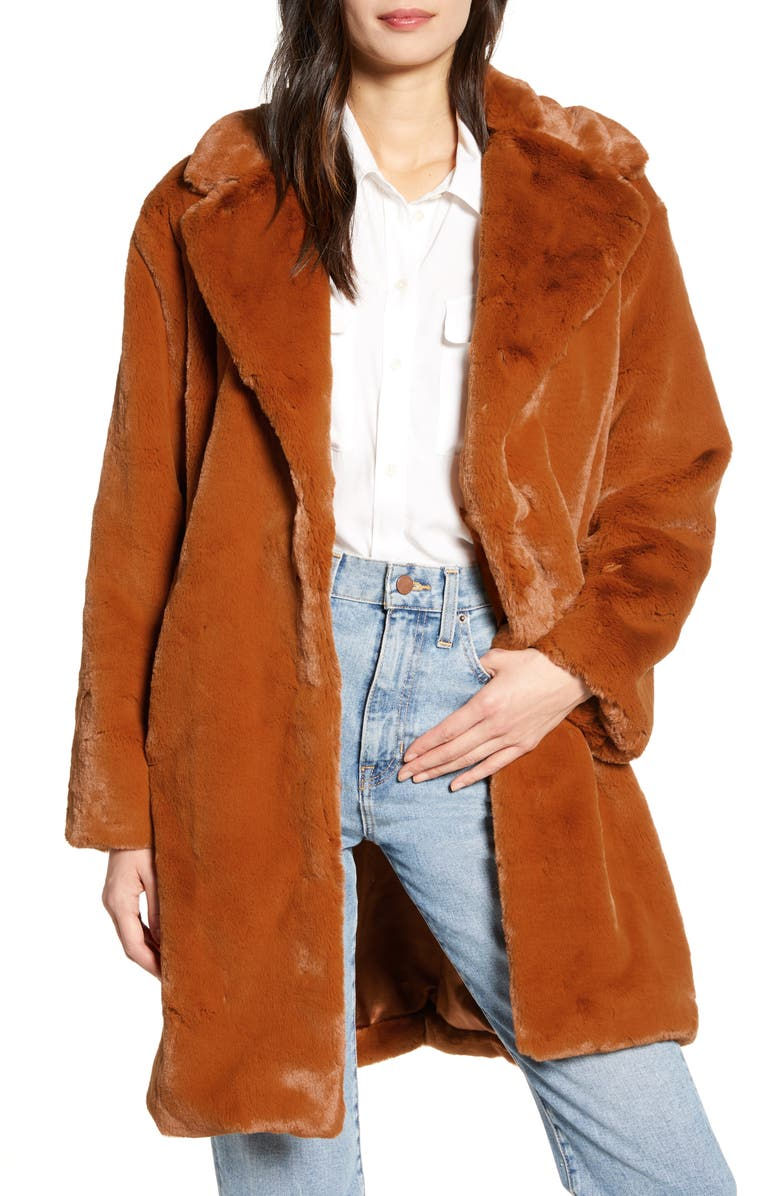 SOMETHING NAVY Faux Fur Teddy Coat, Main, color, RUST GINGERSNAP