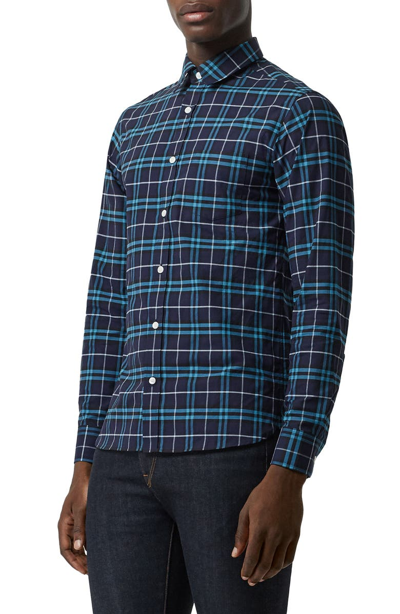 BURBERRY George Slim Fit Check Sport Shirt, Main, color, 400
