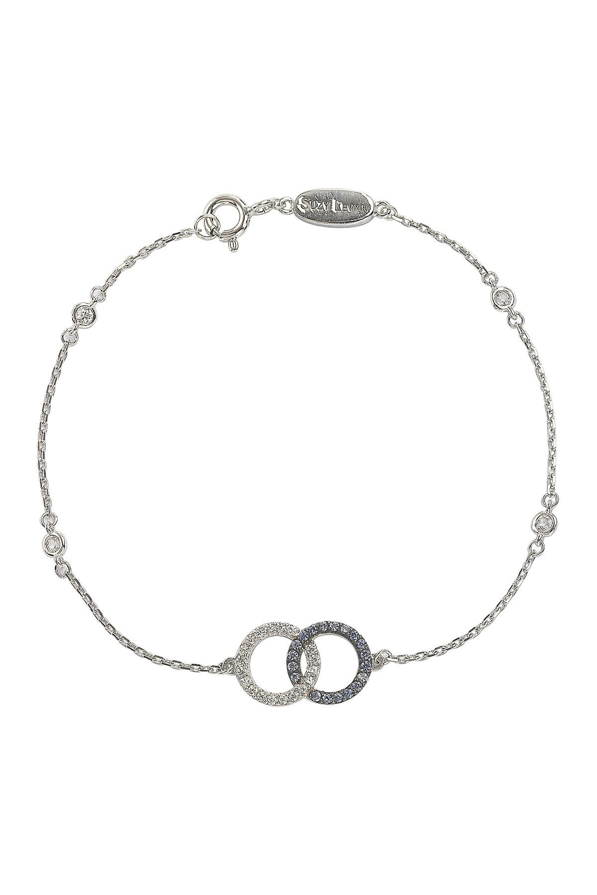 Image of Suzy Levian Sterling Silver Interlocked Circle Sapphire & Created Sapphire Station Bracelet