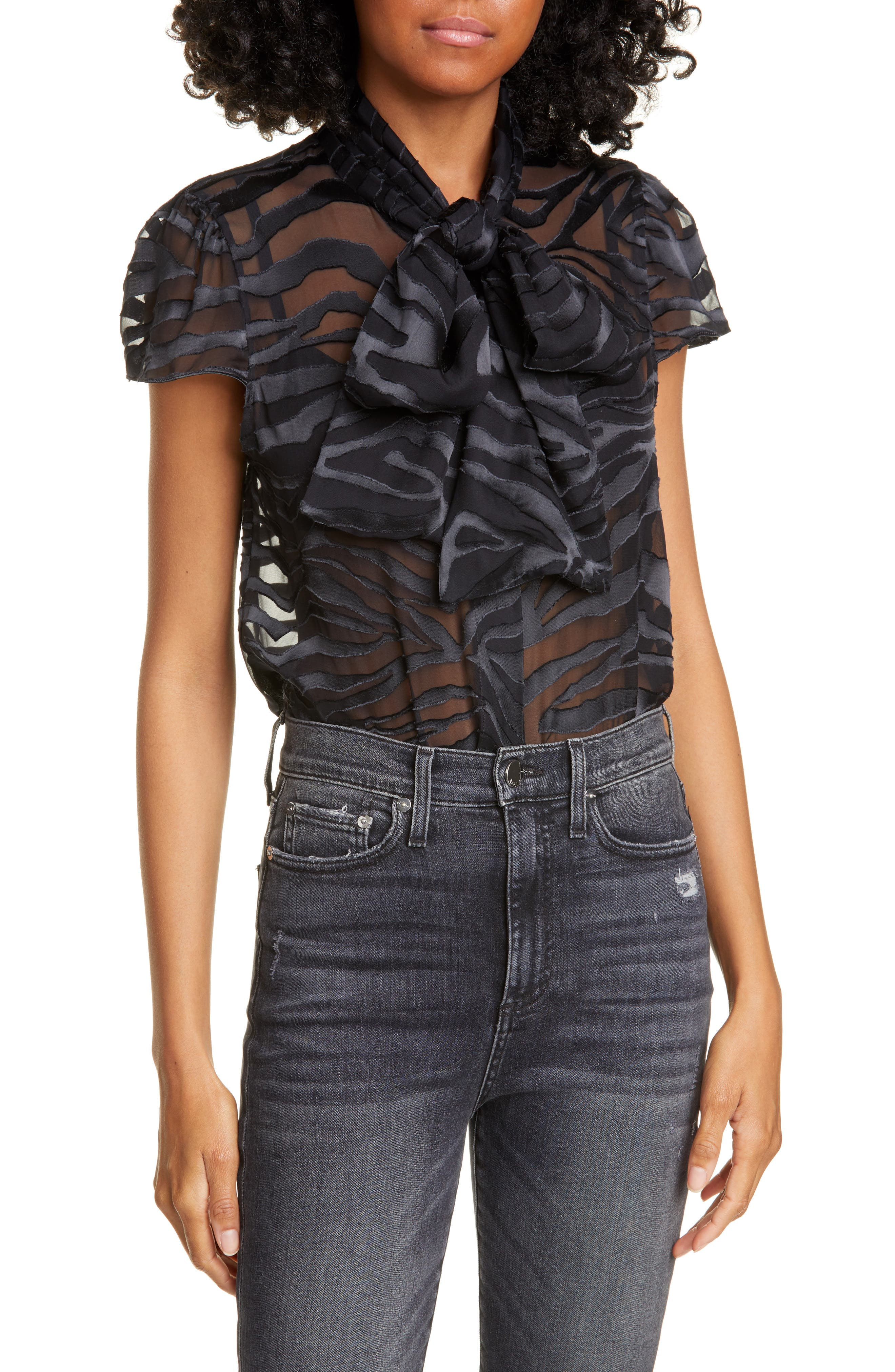Alice + Olivia Tops Jeannie Bow Collar Tiger Stripe Burnout Blouse