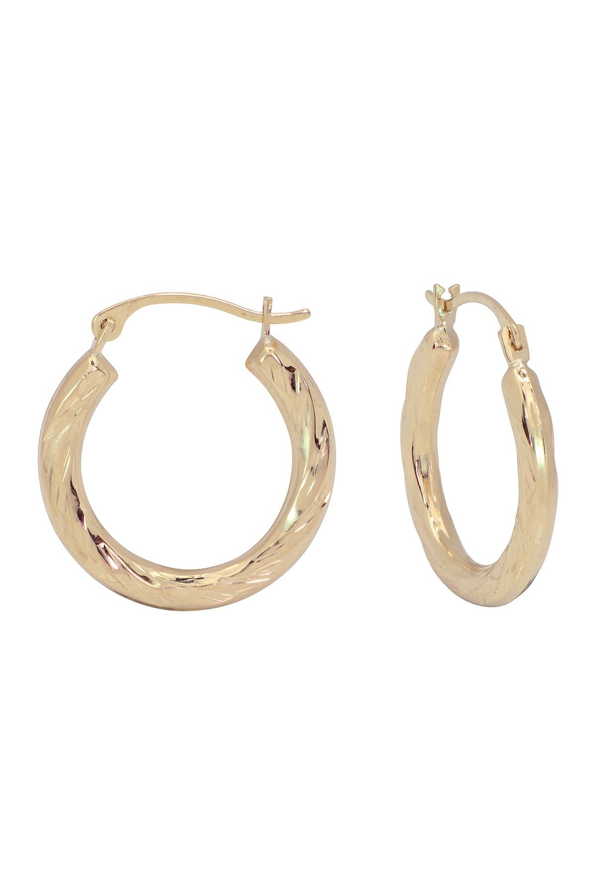 Candela 10k Gold Small Twisted 15mm Hoop Earrings