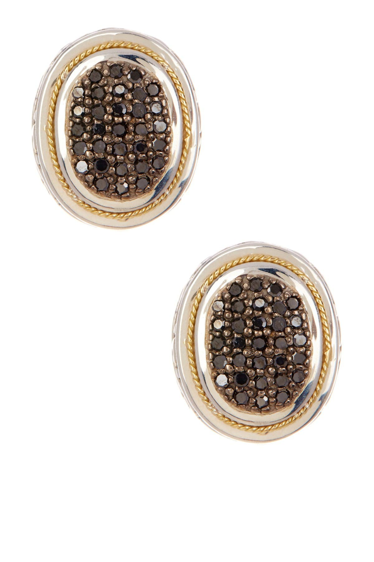 Image of Effy Sterling Silver & 18K Yellow Gold Black Diamond Stud Earrings - 0.62 ctw