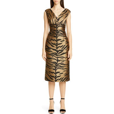 Carolina Herrera Tiger Jacquard Sheath Dress, Beige