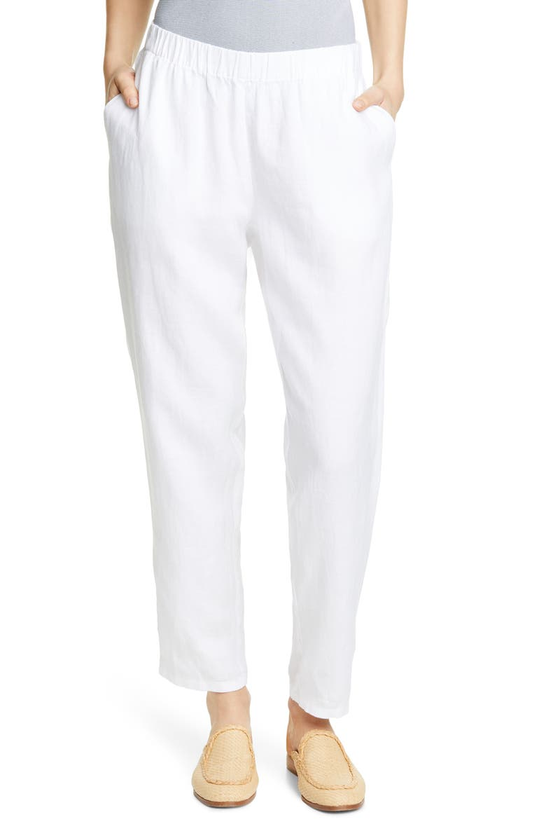 EILEEN FISHER Tapered Linen Ankle Pants, Main, color, WHITE