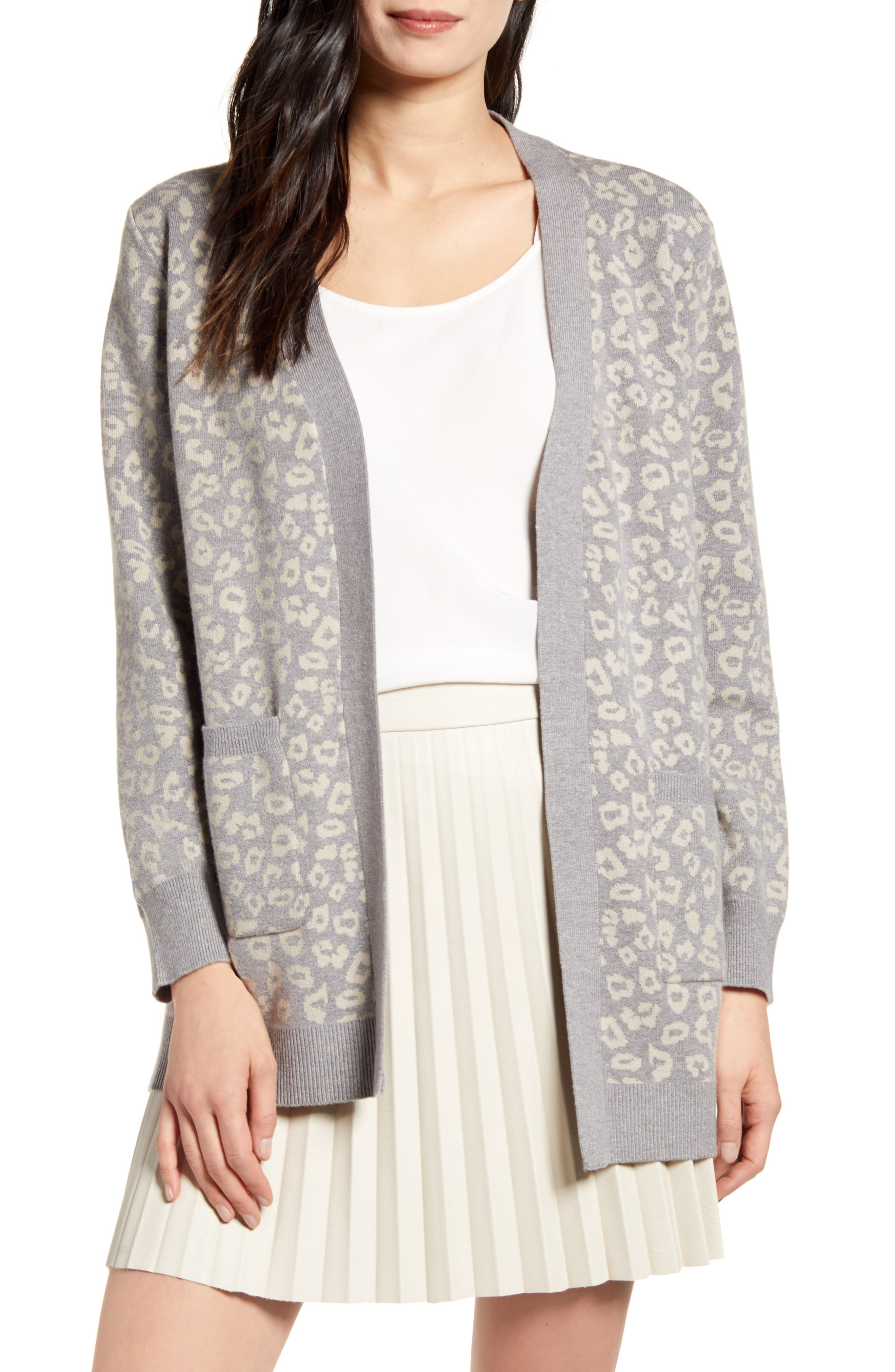 Image of: Cupcakes And Cashmere Cheyenne Leopard Print Cardigan Nordstrom Rack