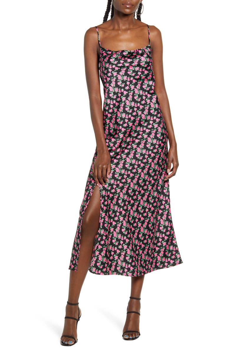 WAYF X Influencing in Color Tanner Cowl Neck Satin Slipdress, Main, color, 001