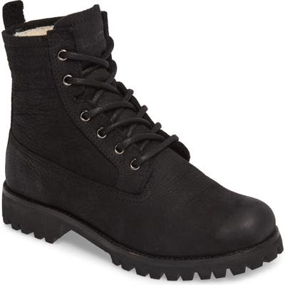 Blackstone Ol22 Lace-Up Boot With Genuine Shearling Lining, Black