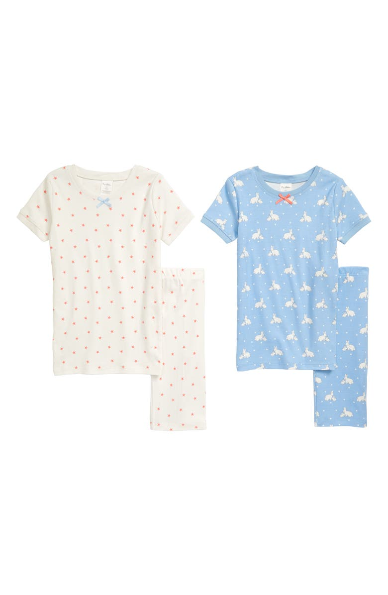 MINI BODEN 2-Pack Fitted Two-Piece Short Pajamas, Main, color, BLULIGHT SKYBLUE BUNNIES STARS