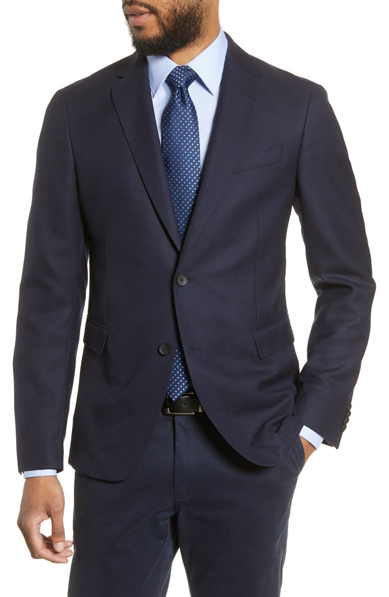 BOSS Nobis Trim Fit Bird's Eye Wool Blazer, Main, color, NAVY