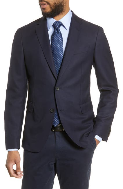 Image of BOSS Dark Blue Birdseye Two Button Notch Lapel Wool Slim Fit Suit Separates Blazer
