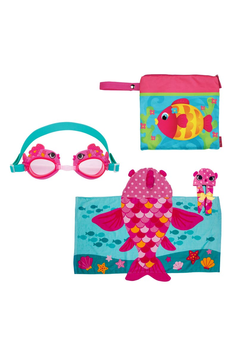 STEPHEN JOSEPH Wet/Dry Bag, Hooded Towel & Goggles, Main, color, PINK FISH