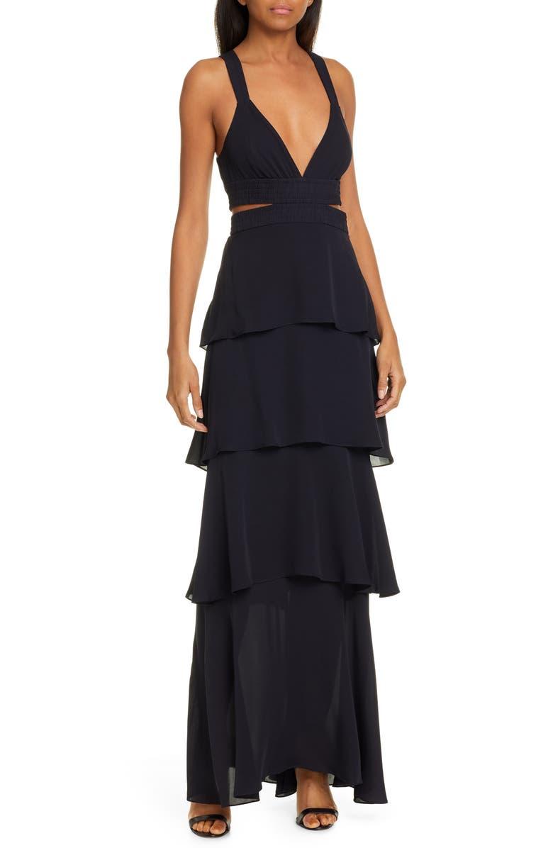 A.L.C. Lita Ruffle Silk Maxi Dress, Main, color, 401