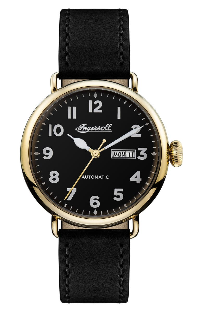 INGERSOLL Trenton Automatic Leather Strap Watch, 44mm, Main, color, 001