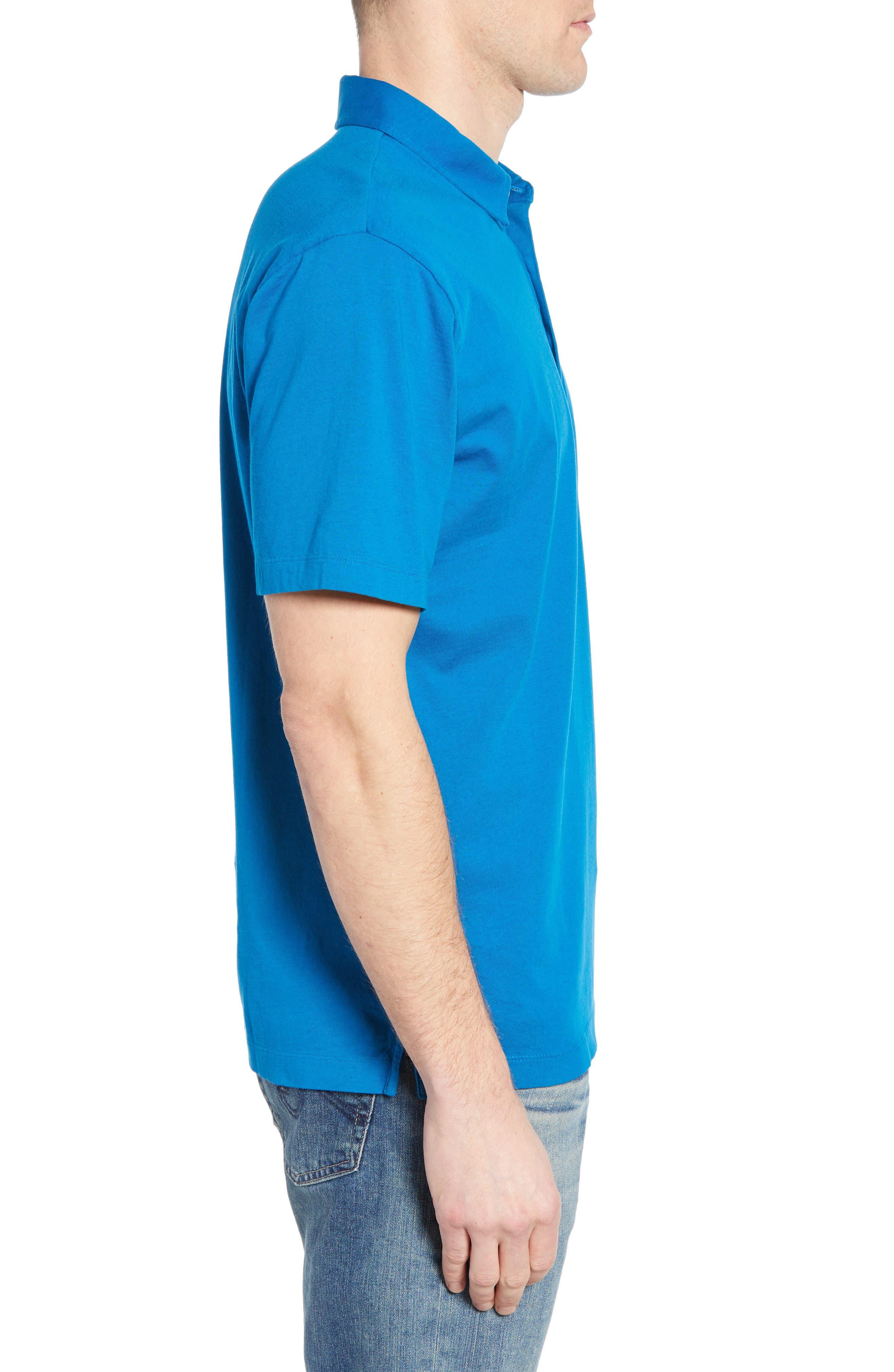 ,                             Trout Fitz Roy Regular Fit Organic Cotton Polo,                             Alternate thumbnail 3, color,                             BALKAN BLUE