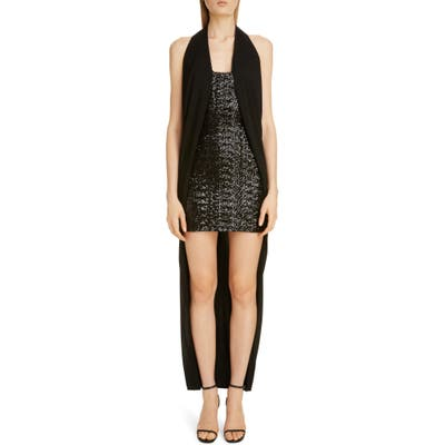 Balmain Draped Sequin Halter High/low Dress, 8 FR - Black