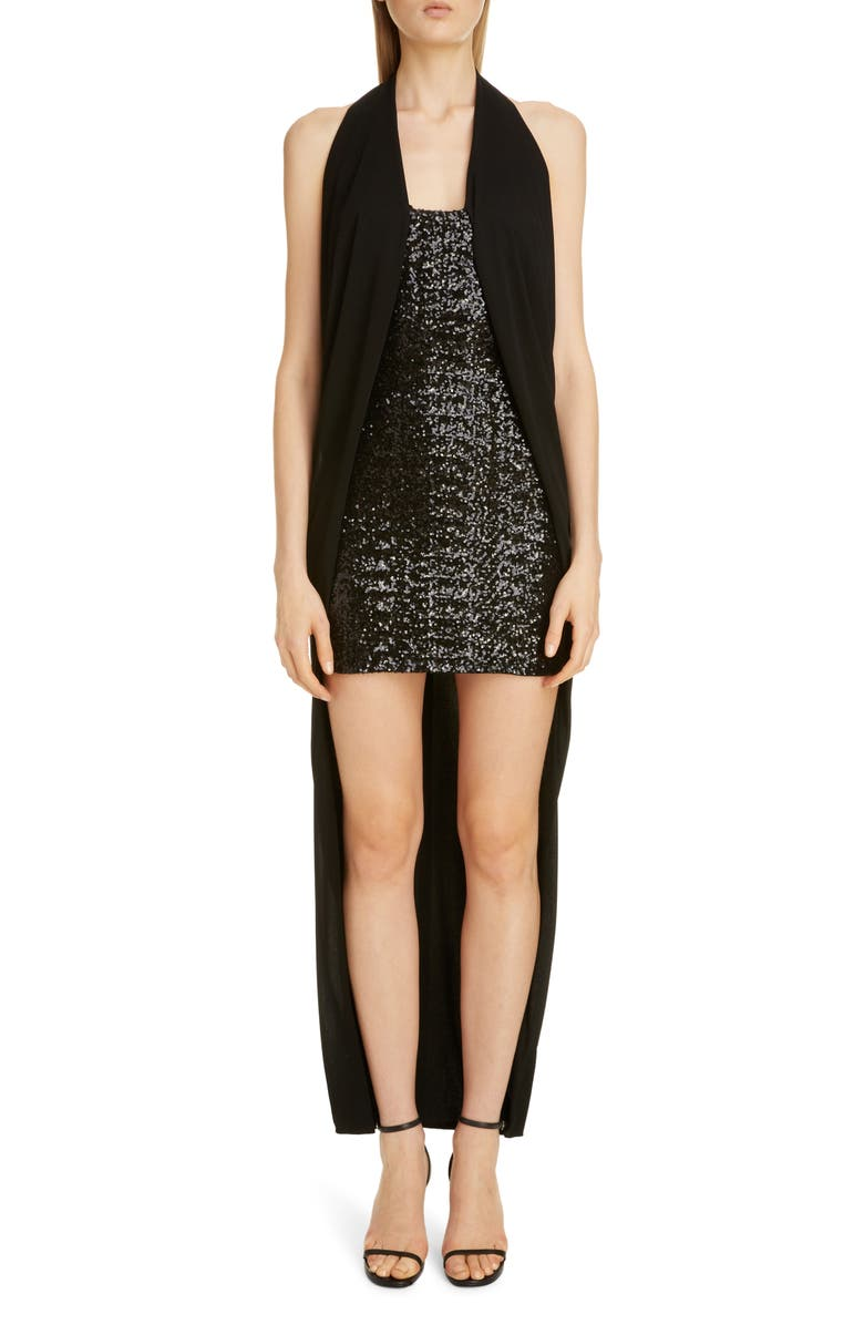 BALMAIN Draped Sequin Halter High/Low Dress, Main, color, NOIR