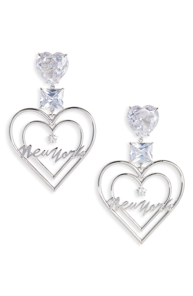 JIWINAIA Jiwinai New York Crystal Heart Earrings, Main, color, 040