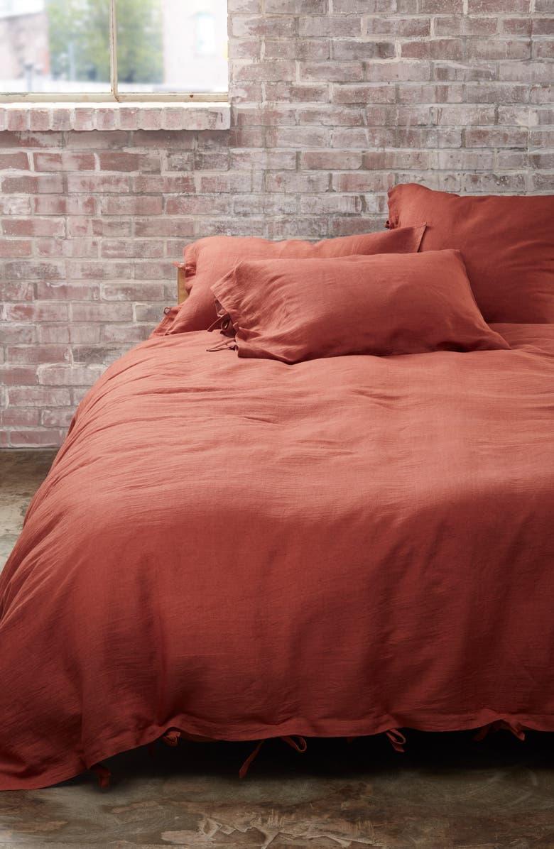 TREASURE & BOND Relaxed Cotton & Linen Duvet Cover, Main, color, BROWN RUSTIC