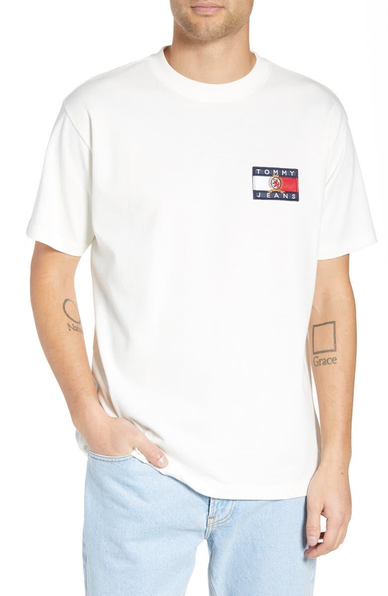 TOMMY JEANS Crest Flag Logo T-Shirt, Main, color, CLOUD DANCER