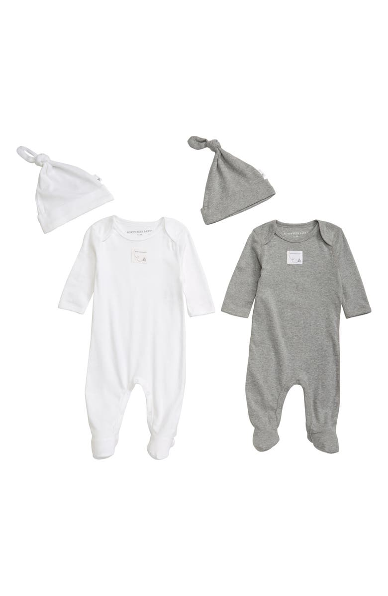 BURTS BEES Burt's Bees Baby 2-Pack Footie & Hat Set, Main, color, 021