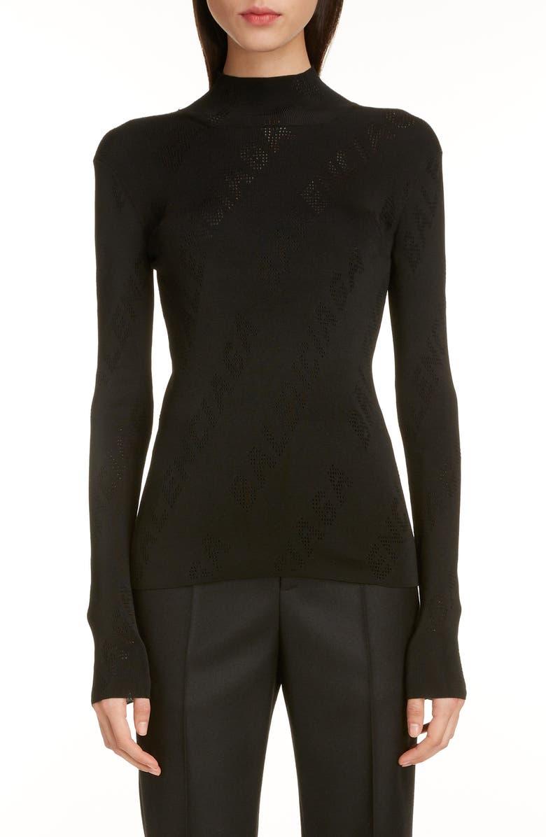 BALENCIAGA Pointelle Logo Sweater, Main, color, BLACK