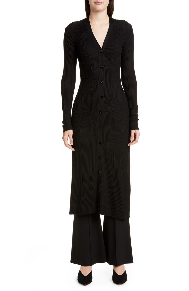 ROSETTA GETTY Ribbed Longline Merino Wool Blend Cardigan, Main, color, 001