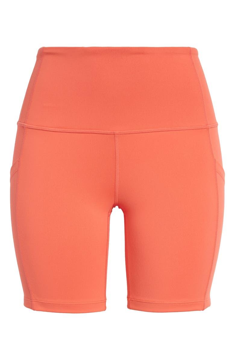 ZELLA Live In High Waist Pocket Bike Shorts, Main, color, CORAL ROSE