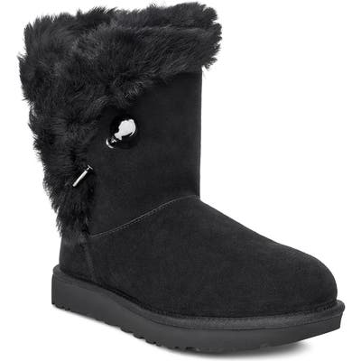 UGG Classic Fluff Pin Genuine Shearling Bootie, Black