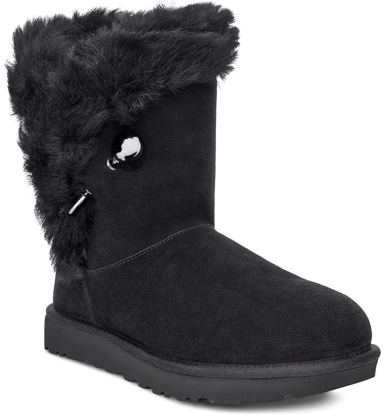 UGG<SUP>®</SUP> Classic Fluff Pin Genuine Shearling Bootie, Main, color, BLACK