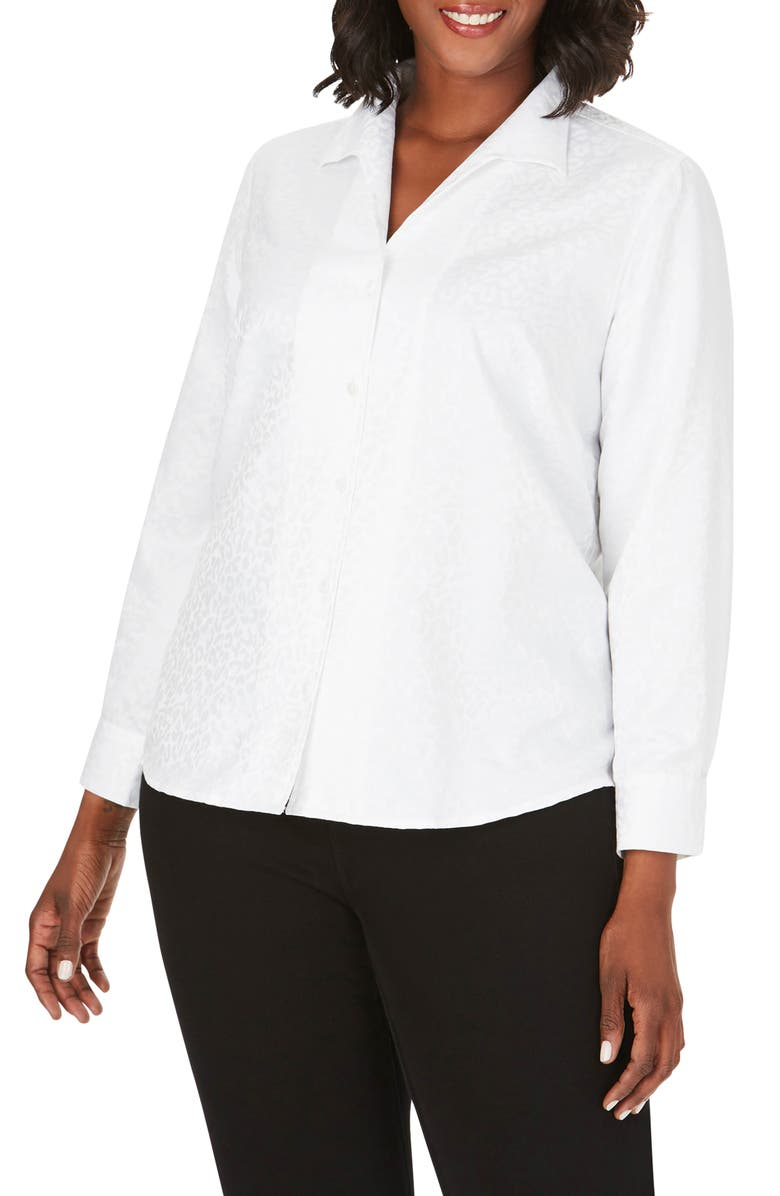 FOXCROFT Gracey Animal Jacquard Shirt, Main, color, WHITE