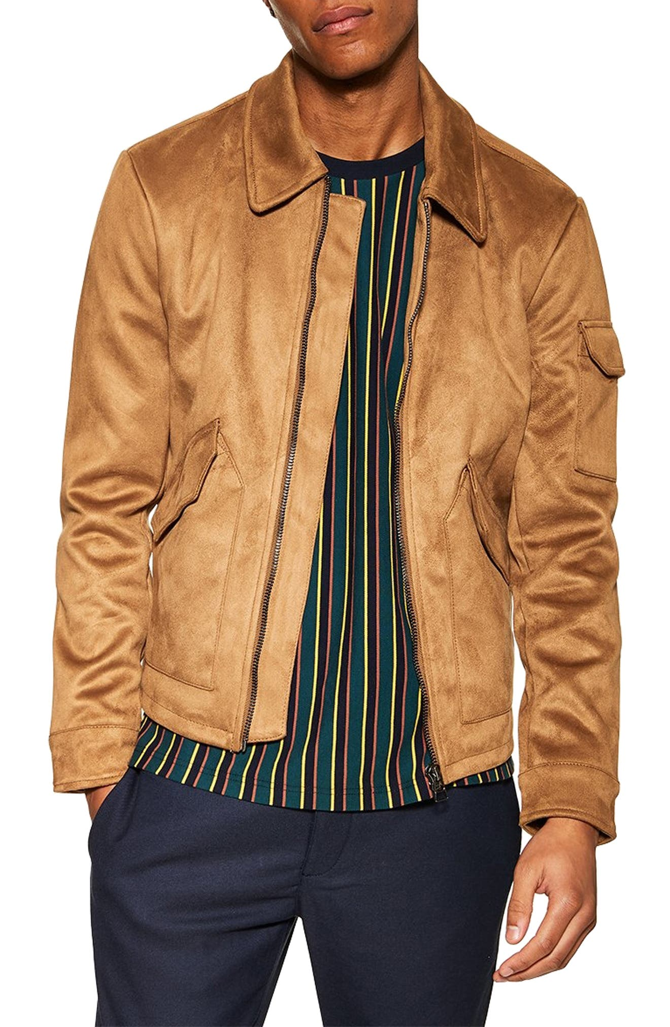 Topman Faux Suede Flight Jacket, Brown