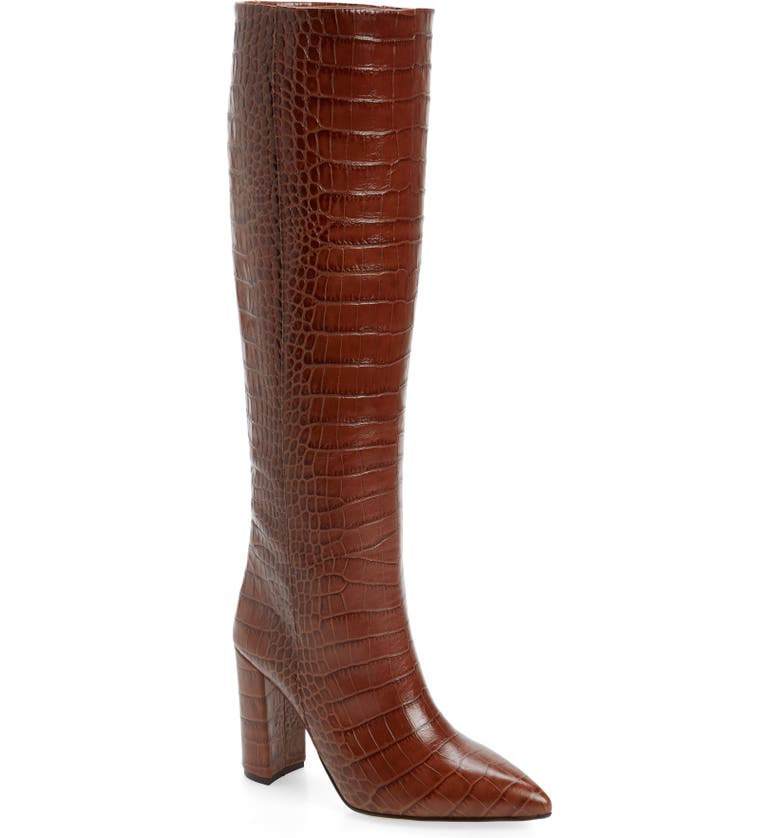 PARIS TEXAS Croc Embossed Over the Knee Boot, Main, color, BROWN
