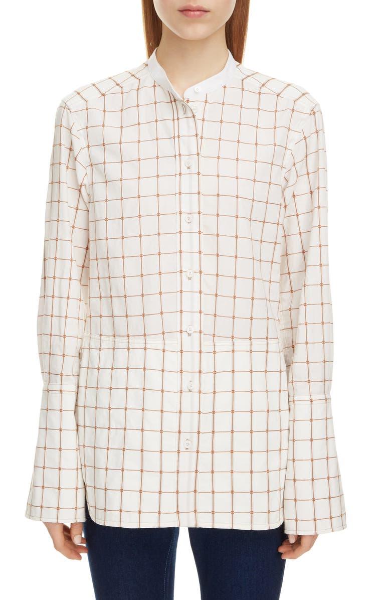 CHLOÉ Check Jacquard Shirt, Main, color, SOFT WHITE