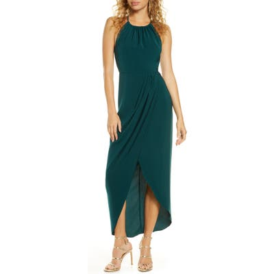 Shona Joy Draped Halter Tulip Gown, Green