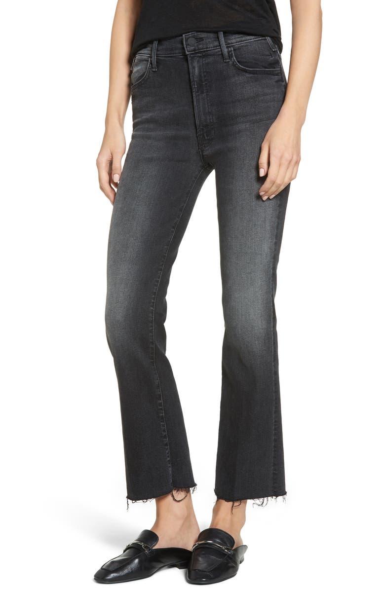 MOTHER The Hustler High Waist Frayed Ankle Jeans, Main, color, 001