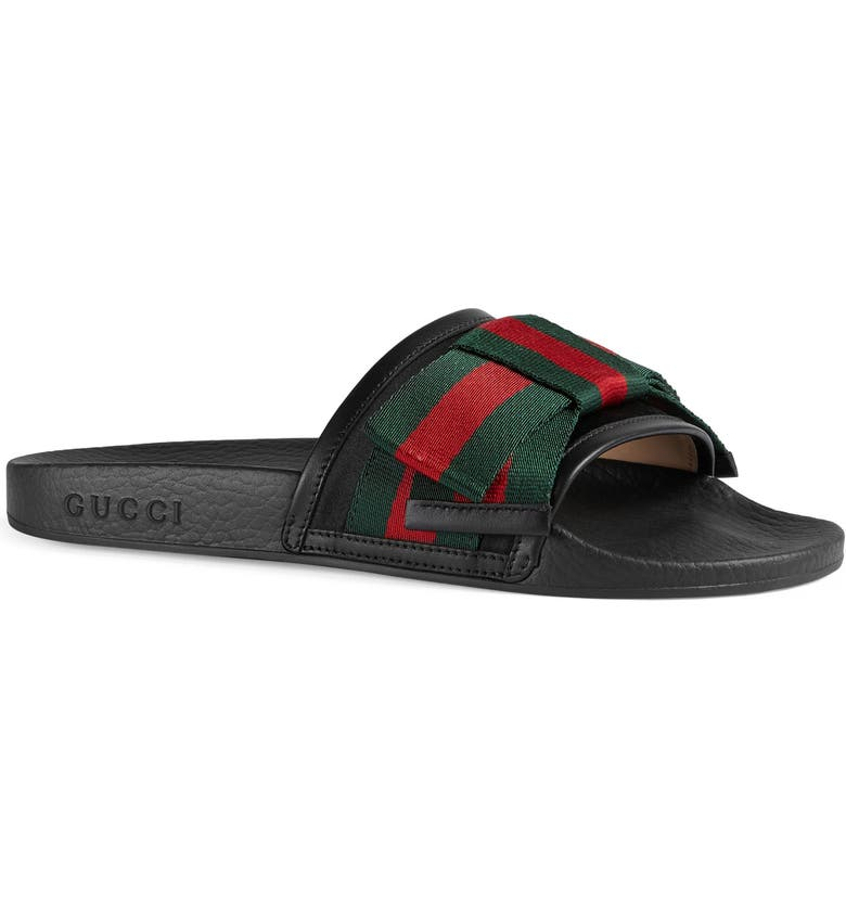 GUCCI Pursuit Bow Slide Sandal, Main, color, 001