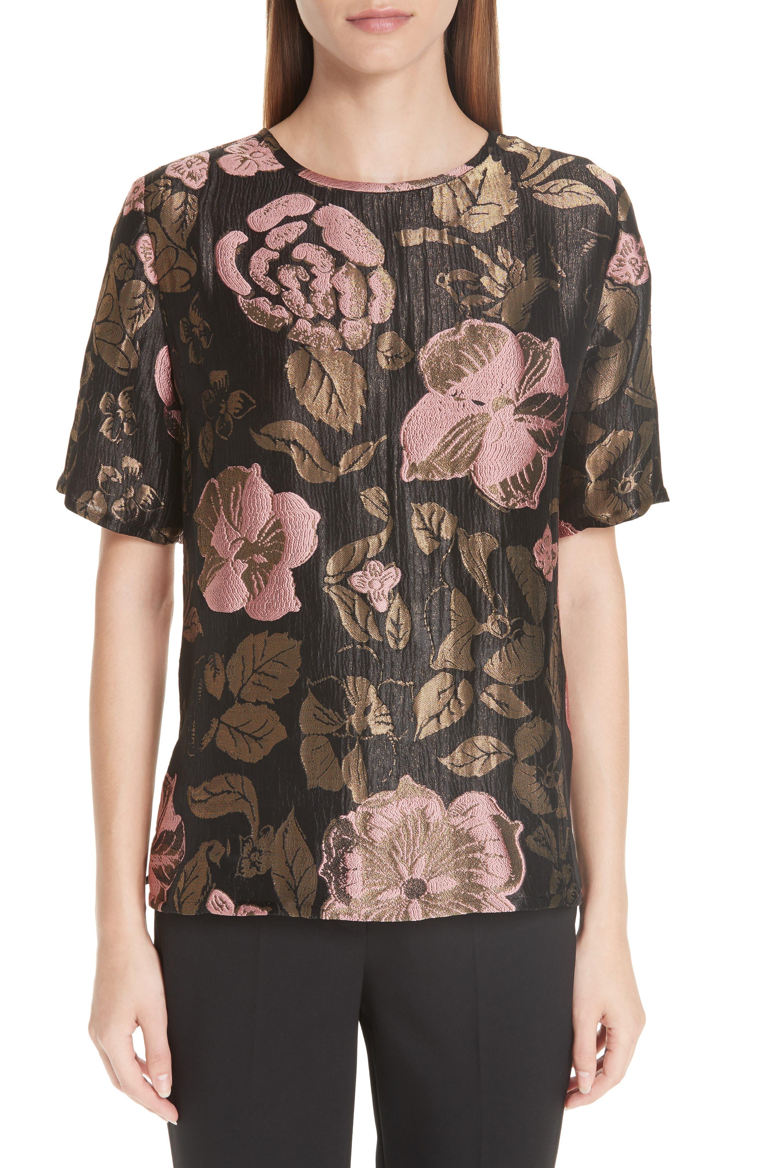 ,                             Metallic Floral Jacquard Top,                             Main thumbnail 1, color,                             BLACK