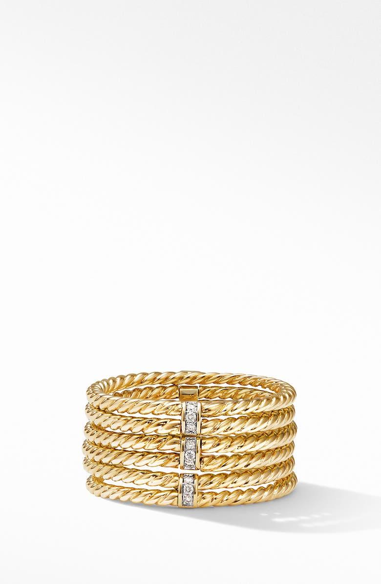 DAVID YURMAN Origami 6-Row Cable Ring in 18K Yellow Gold with Diamonds, Main, color, YELLOW GOLD/ DIAMOND