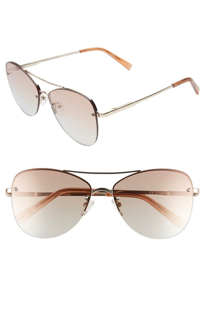 LE SPECS Fortifeyed 61mm Mirrored Aviator Sunglasses, Main, color, GOLD/ GOLD GRADIENT MIRROR