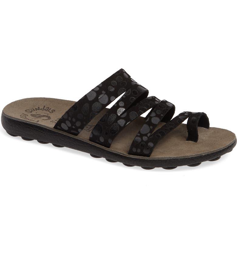 FANTASY SANDALS Mara Slide Sandal, Main, color, BLACK SPLASH LEATHER