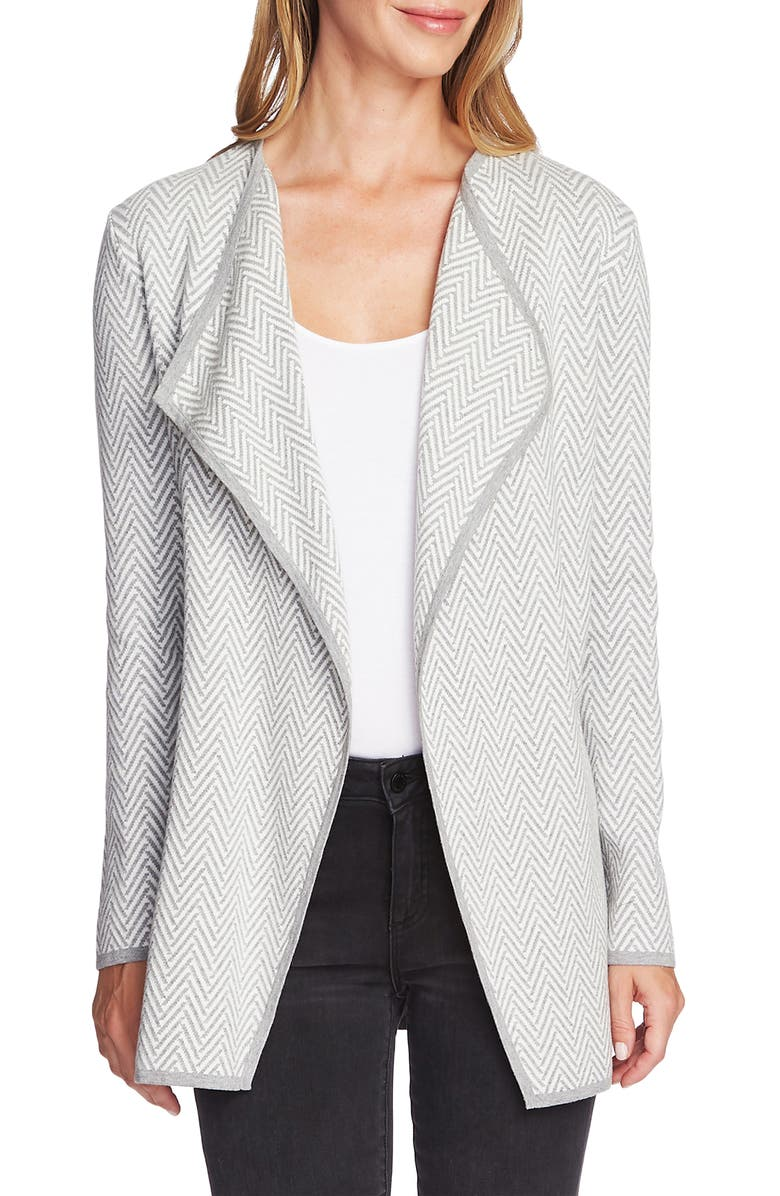 VINCE CAMUTO Herringbone Cardigan, Main, color, SILVER HEATHER