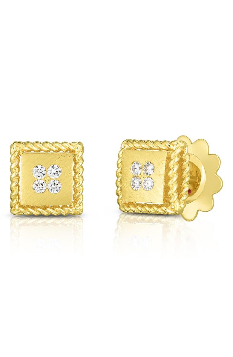 ROBERTO COIN Princess Square Diamond Earrings, Main, color, 710